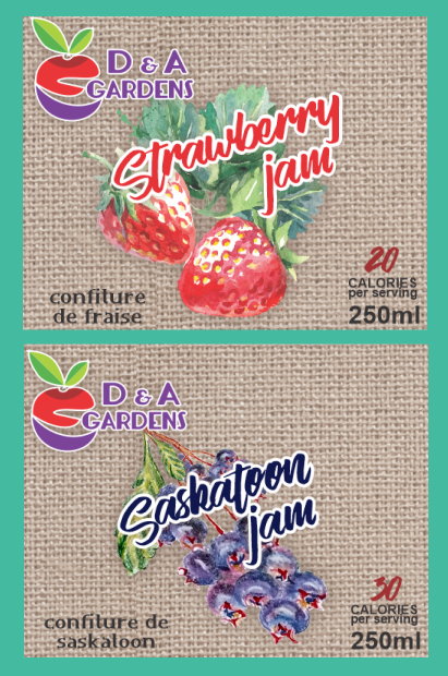 Strawberry and Saskatoon Jam Labels