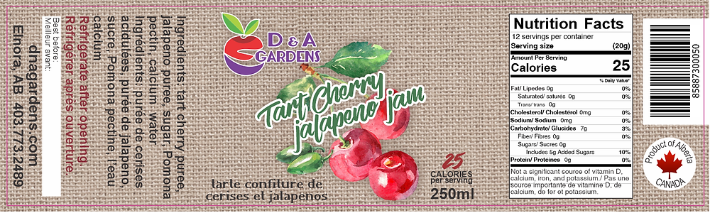 Tart Cherry Jalapeno Jam Label