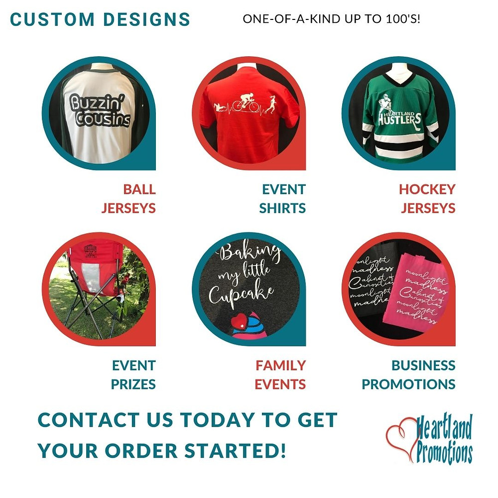 Examples of custom heat press vinyl designs on shirts, jerseys and promotional items.