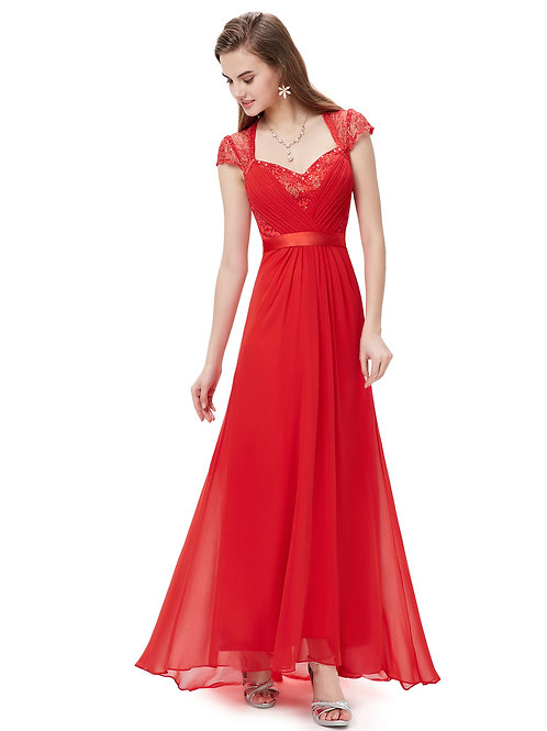 V-neck Red Diamante Cap Sleeve Prom Dress