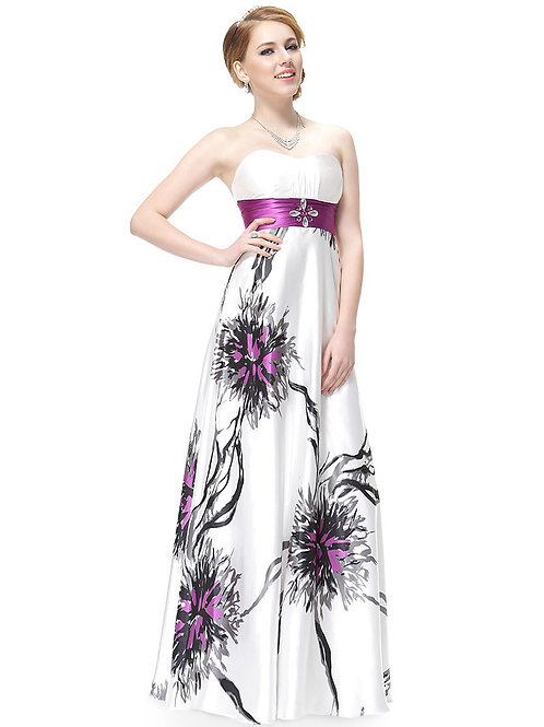 Strapless Rhinestones Ruched Waist Printed Evening Dress