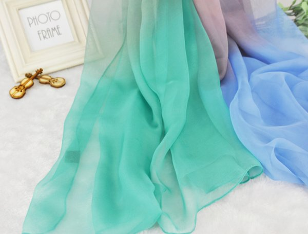Yellow and blue scarf chiffon