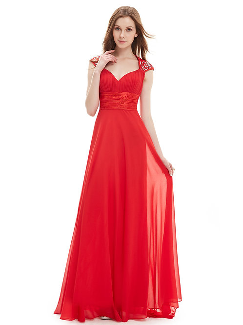 V-neck Red Sequins Chiffon Ruffles Empire Rent