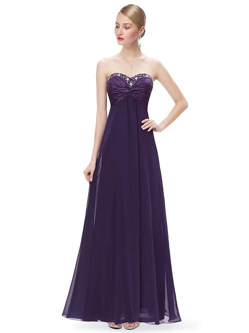 Rhinestones Ruffles Purple Crystal Beads Evening Dress