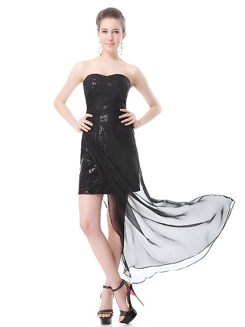 Black Strapless Sequined Slitted Chiffon Prom Dress