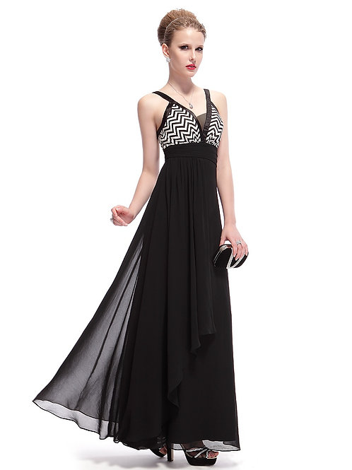 V-Neck Chevron Print Ruched Waist Long Black Party Dress