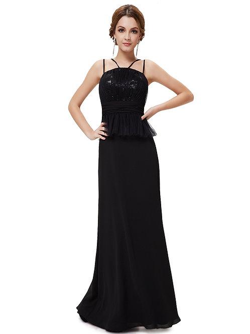 Strappy Sequined Peplum Waist Long Black Evening Dress