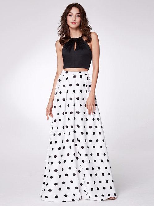 Long 2 pc. Polka Dot Crop Top and Skirt Prom Dress