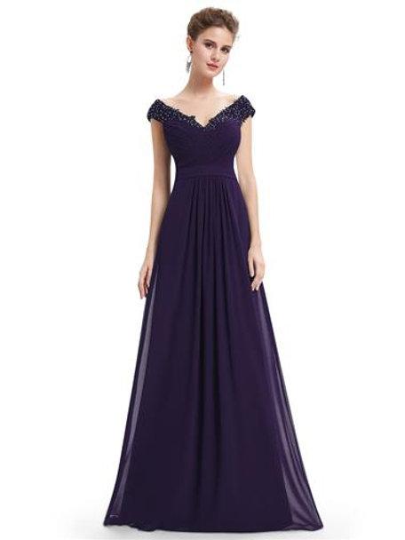 elegant V-neck long party dress