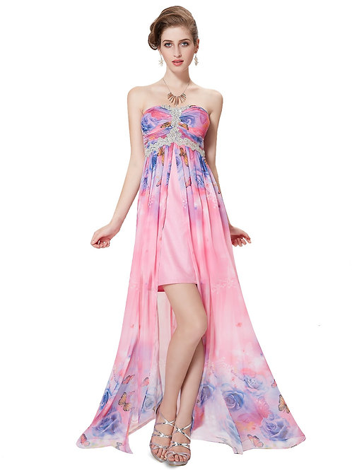 Strapless Pink Printed Slit Long Prom Gown