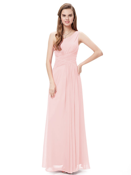 Elegant One Shoulder Slit Ruched Long Evening Dress
