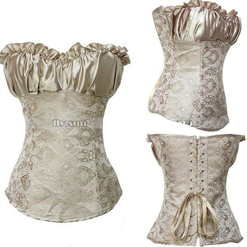 Champaign Brocade Overbust Corset Outer Wear