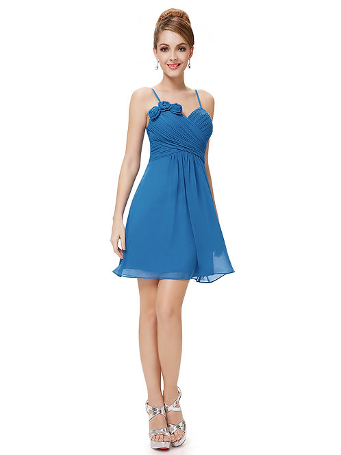 Spaghetti Straps Flower Ruched Bust Blue Short Dress