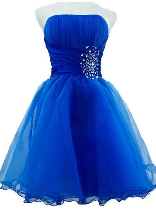 Backless Royal Blue Short Prom Dresses