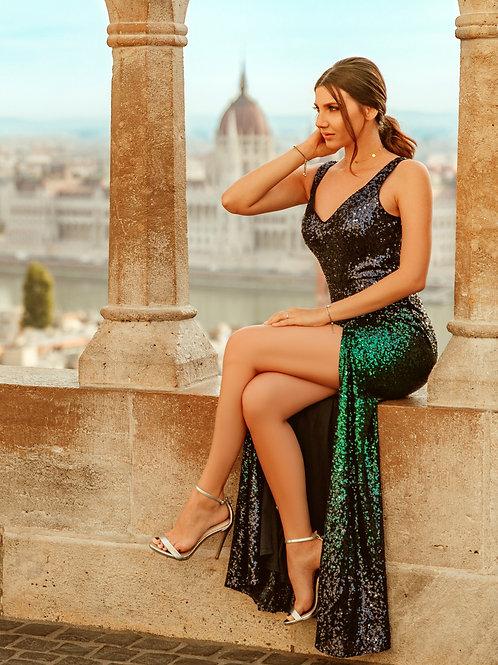 Floor Length Sequin Dress with Thigh High Slit