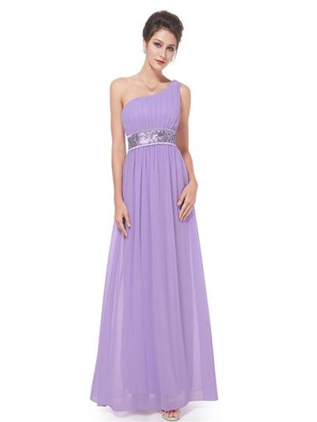 One Shoulder Empire Line Sequins Padded Long Evening Gown