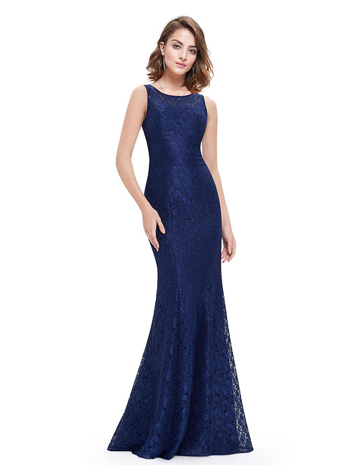 Elegant Fitted Floor Length Lace Evening Dress