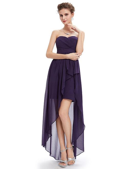 Strapless Elegant Purple Summer Prom tea length Evening Dress