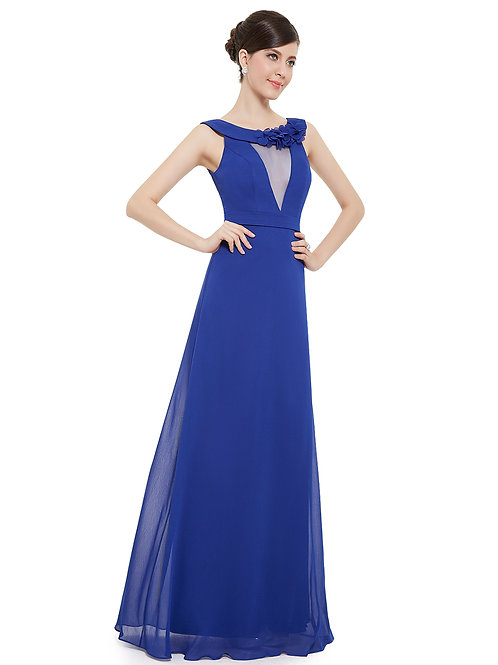 Womens Sleeveless Floor Length Sapphire Blue Evening Dress