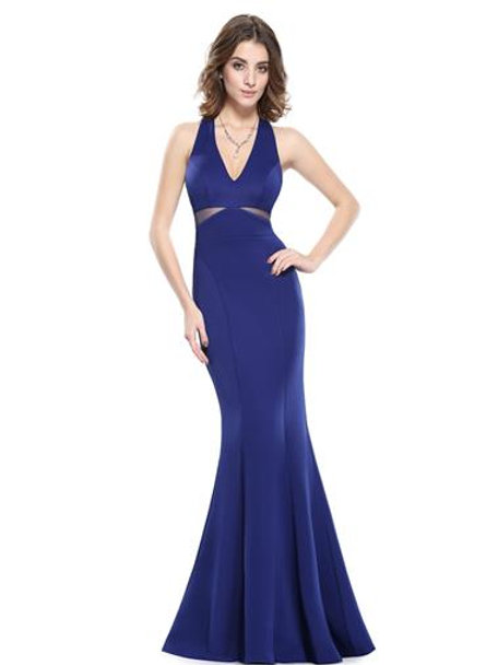 V-NECK LONG FISHTAIL EVENING DRESS
