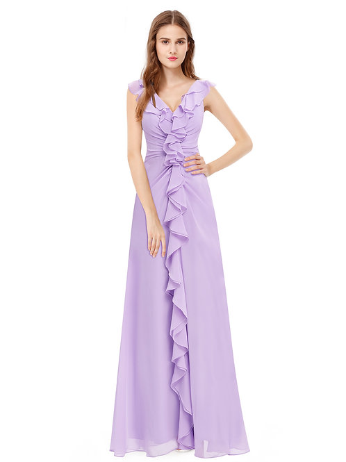 V-Neck Ruffles Sleeveless Long Evening Dress
