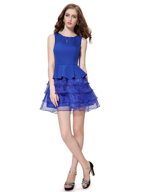 Sleeveless Ruffles Short Blue Party Dress