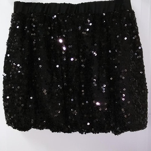 Girls Black Sequin Bubble Hem Skirt