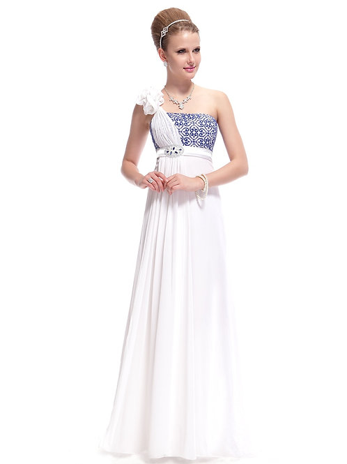Elegant Flowered Single Shoulder Embroidered Long Party Dress