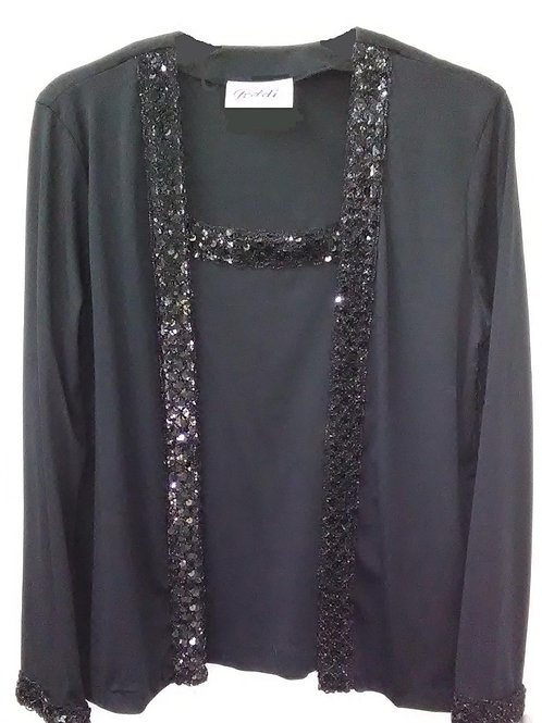Dressy Black Long Sleeve Sequin Blouse