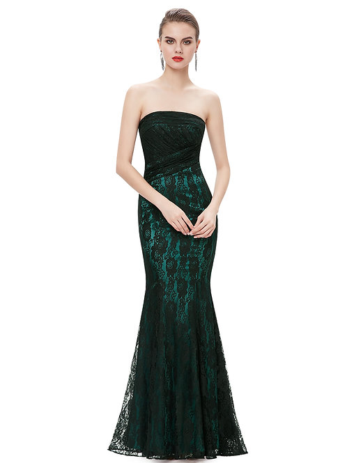 Strapless Black Lace Evening Gown