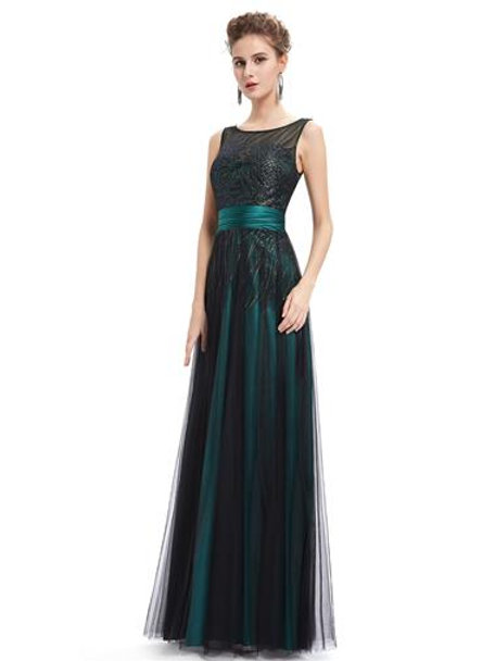 Elegant Green Evening Round Neck Long Party Dress