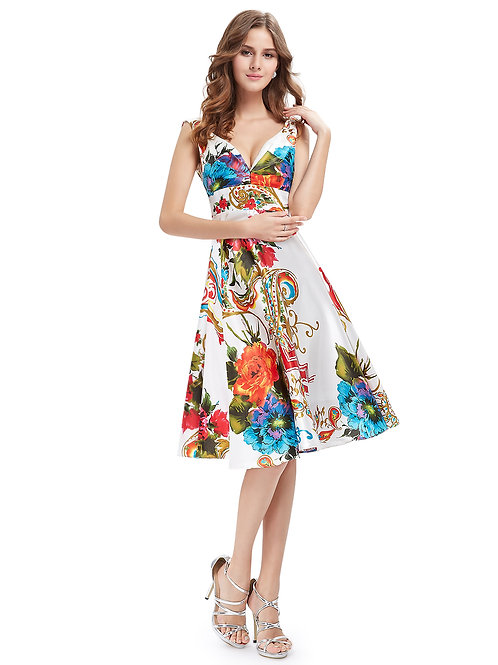 Satin Double V neck Empire Floral Dress