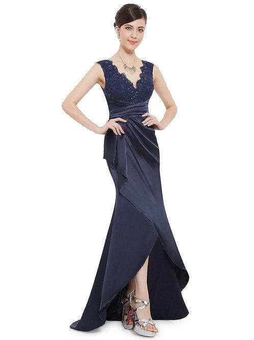 Sleeveless V-neck Navy Blue Floor Length Prom Dress