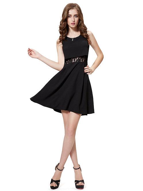 Sleeveless Sheer Lace Panel Little Black Dress