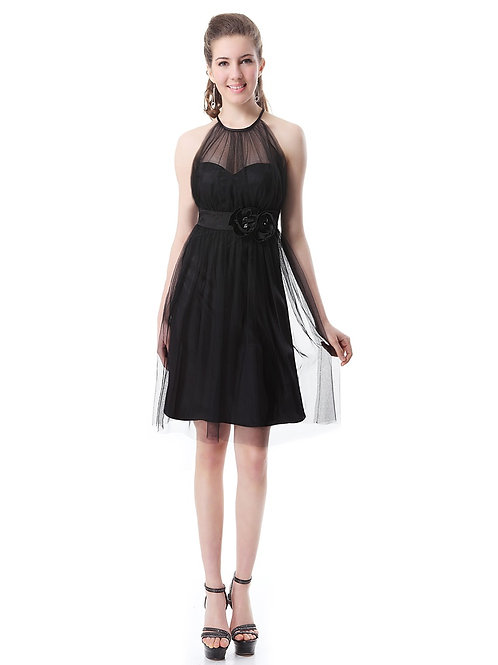 Charming Halter Flower Ruffles Sheer Little Black Dress