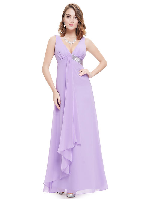 V-neck Flowy Ribbon Sequined Waist Long Rent