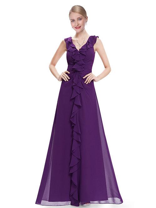 V-Neck Ruffles Sleeveless Long Evening Dress