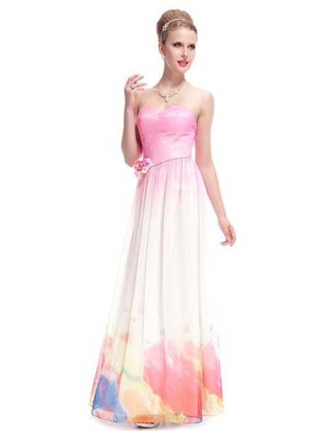 Party Evening Beach Pink Printed Maxi Dress