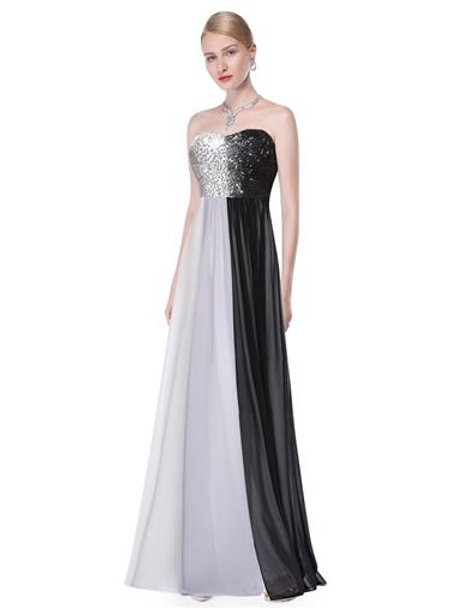 Strapless Sequined Bust Ombre Ladies Long Evening Dress
