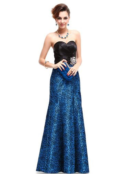 Strapless Black Blue Satin Floral Printed Ruffles Evening Gown