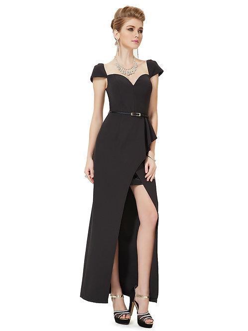 Black Cap Sleeve V-neck Slit Side Long Evening Dress