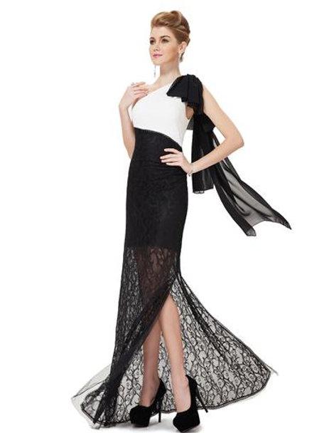 Unique One Shoulder Black White Lace Evening Party Dress