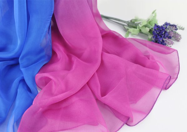 Chiffon Scarve bright blue and pink