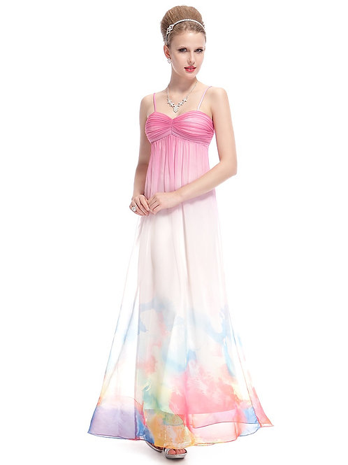 Spaghetti Straps Ruched Bust Printed Maxi  Formal Prom