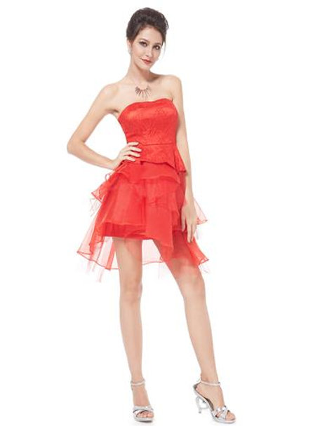 Strapless Red Ruffles Tulle Short Red Prom Dress
