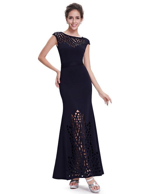 Elegant Round Neck Blue Long Evening Dress