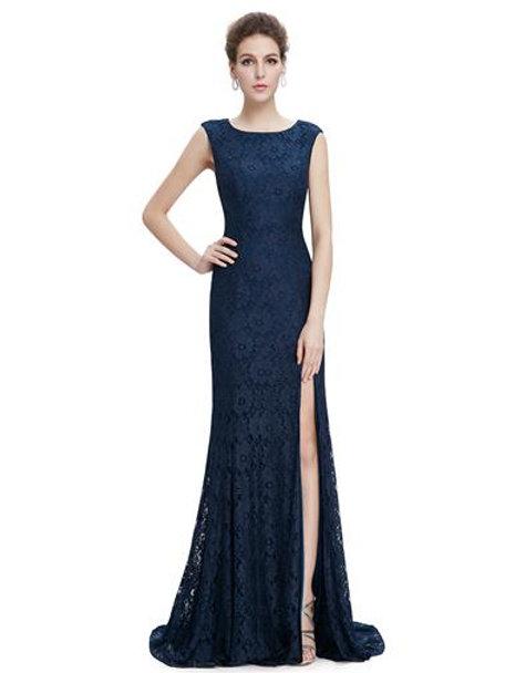 Round Neck Long Evening Dress