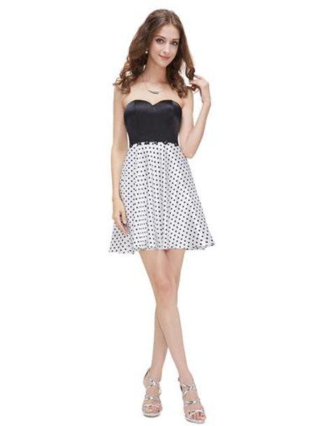 Strapless Black and White Mini Cocktail Dress