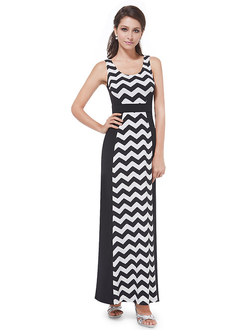 Black And White Striped Fitted Long  Dress