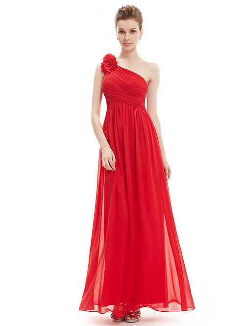 One Shoulder Floral Padded Red Prom
